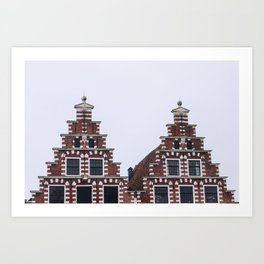 Iconic twin canal houses near Spaarne river in Haarlem in winter | Haarlem historical city, the Netherlands | Urban travel photography Art Print Art Print