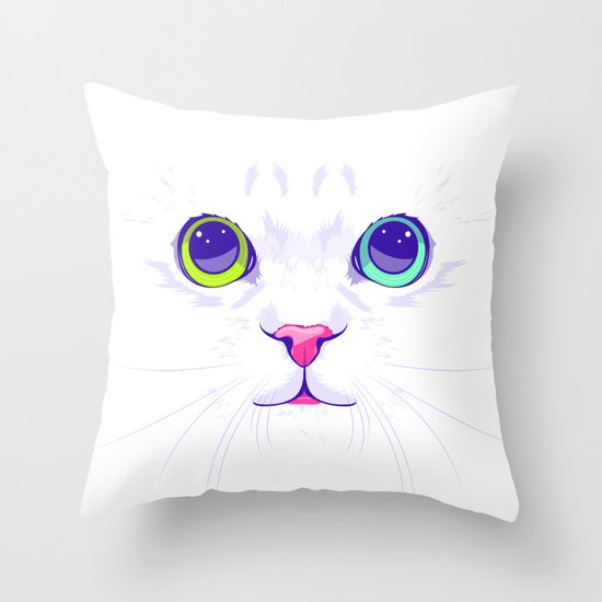 Cute Throw Pillow Society6 : White cute cat Throw Pillow by Oh Wow! Society6