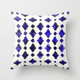(N1) Royal Blue Traditional Moroccan Arabic Geometric Artwork Throw Pillow