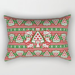 Cats and pizza ugly sweater Rectangular Pillow