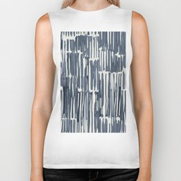 Simply Bamboo Brushstroke Indigo Blue on Lunar Gray Biker Tank