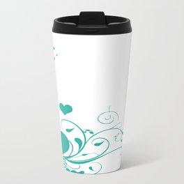 Aquamarine Valentine Hearts On A White Background Travel Mug