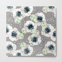 Soothing Rose Garden Gray + White Navy Metal Print