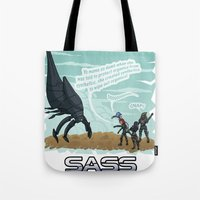 mass effect Tote Bags featuring Mass Effect - Sass Effect by calicoJill