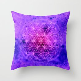 Flower of life Purple and Blue Throw Pillow