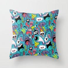 Doodled Pattern Throw Pillow