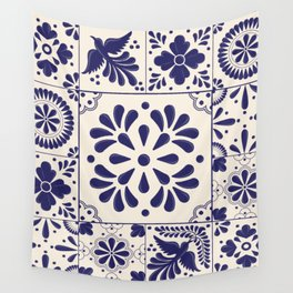 Blue Mexican Talavera Pattern by Akbaly Wall Tapestry