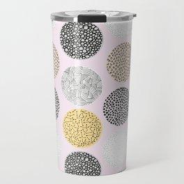 Yellow, White, Gray, Pink and Black Circle Print Travel Mug