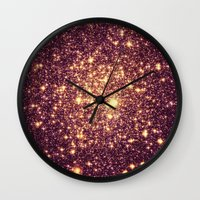 rose gold Wall Clocks featuring Rose Gold by GalaxyDreams