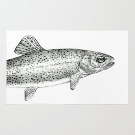 Rainbow Trout Drawing Rug