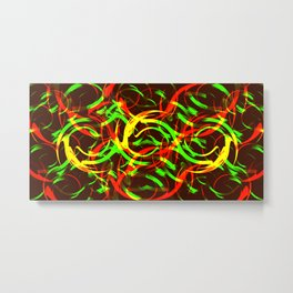 Background of fire circles. Fireballs and spheres with color overlay. Metal Print