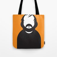 stanley kubrick Tote Bags featuring Stanley by Ale Giorgini