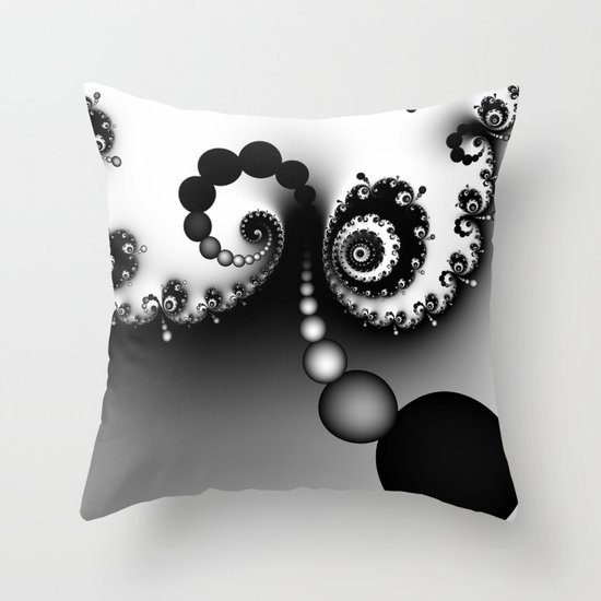 Black and White Fractal 16 Throw Pillow