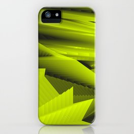 Psychedelic foil yellow landscap with stylised mountains, sea and Sun. iPhone Case