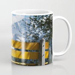 Bench and Mountain Landscape Coffee Mug