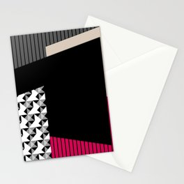 Patchwork black grey red Stationery Cards
