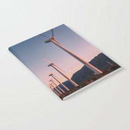 California Desert Windmills at Sunset with Mountain Vistas Notebook