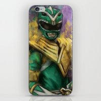 power ranger iPhone & iPod Skins featuring Green Mighty Morphin Power Ranger by SachsIllustration