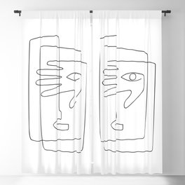 Square Face One Line Art Blackout Curtain
