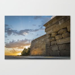 Sunset on egyptian Debod Temple in Madrid Canvas Print