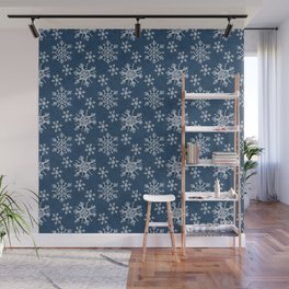 Hand Drawn Snowflakes on Blue Wall Mural