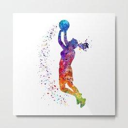 Girl Basketball Player Colorful Watercolor Sports Gift Olympics Game Metal Print