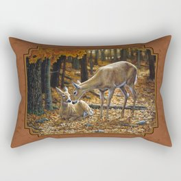 Whitetail Deer and Fawn in Autumn Rectangular Pillow