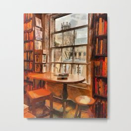 Bookstore with views of the Ely Cathedral in Ely, a historic city in Cambridgeshire, England Metal Print