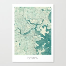 Boston Map Blue Vintage Canvas Print
