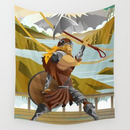 viking with axe in ship in scandinavia mountain Wall Tapestry