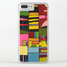 Colors in Collision 2 - Geometric Abstract in Blue Yellow Pink and Green Clear iPhone Case