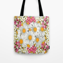 PINK FLOWERS WHITE DAISIES GARDEN Tote Bag