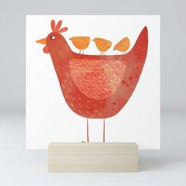 Hen and Chicks Mini Art Print