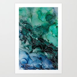 Calypso - Green and Blue Alcohol Ink Painting Art Print