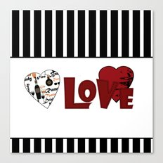 Valentine's day . Love. Black and white striped background . 2 Canvas Print