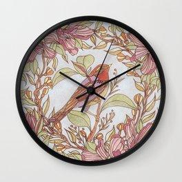 Magnolia And Marigold Wreath With Songbird Wall Clock