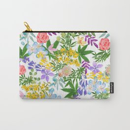 Pretty Cannabis on Pearly White Carry-All Pouch