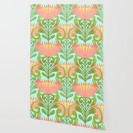 King Protea Flower Pattern - Turquoise Wallpaper