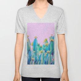 Cactus Bloom - Aqua, blue and pink Unisex V-Neck