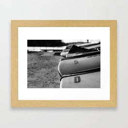 Beached Canoes Black and White Abstract Photograph Framed Art Print