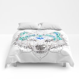 Baïkal, mandala-wolf Comforters