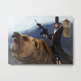 Abe Lincoln Riding a Grizzly Metal Print