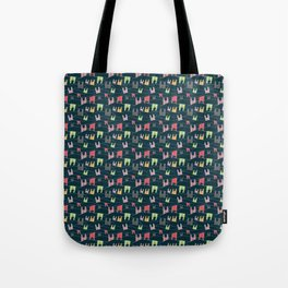 Colorful bunnies on navy background Tote Bag