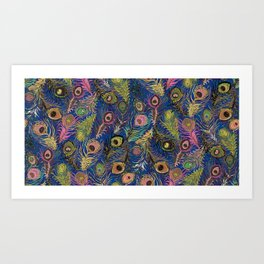 Peacock Feathers in Bold Blue & Pink Art Print