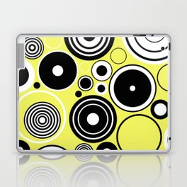 Geometric Rings On Pastel Yellow - Black and white abstract Laptop & iPad Skin