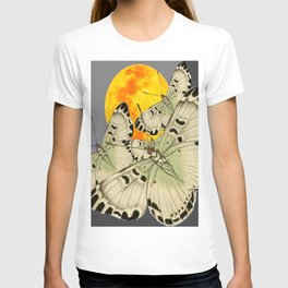 GOLDEN MOON MOTHS ON GREY T-shirt