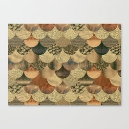 Brown Copper Glamour Mermaid Scale Pattern Canvas Print