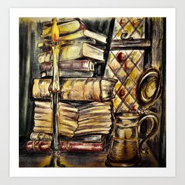 Candles, books and mead Art Print