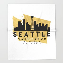SEATTLE WASHINGTON SILHOUETTE SKYLINE MAP ART Throw Blanket