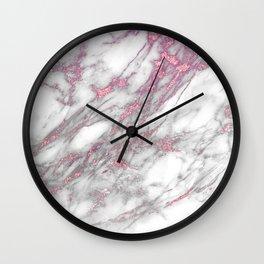 marble pink glitter Wall Clock